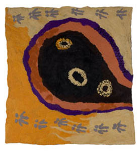 20. <strong>Betty West</strong>, <em>Tjulyurunya</em>, 2007<BR>dyed felted merino wool, 117 x 125 cm<BR>NFS